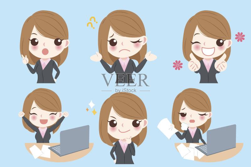 情绪-面无表情 计算机 人 无线电技术 女人 卡通 翘起大拇指 拳头 发狂