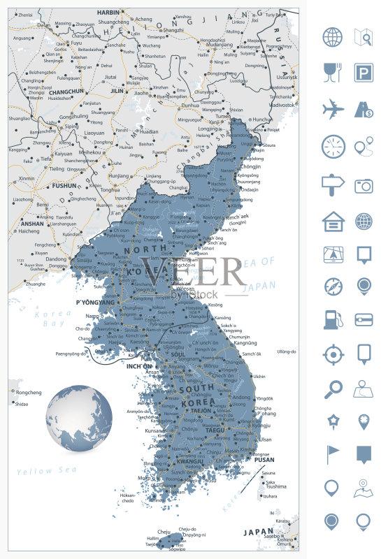 航装备 旅途 路线图 轮廓 乡村风格 地图学 半岛 路 平壤 亚洲 地图 旅