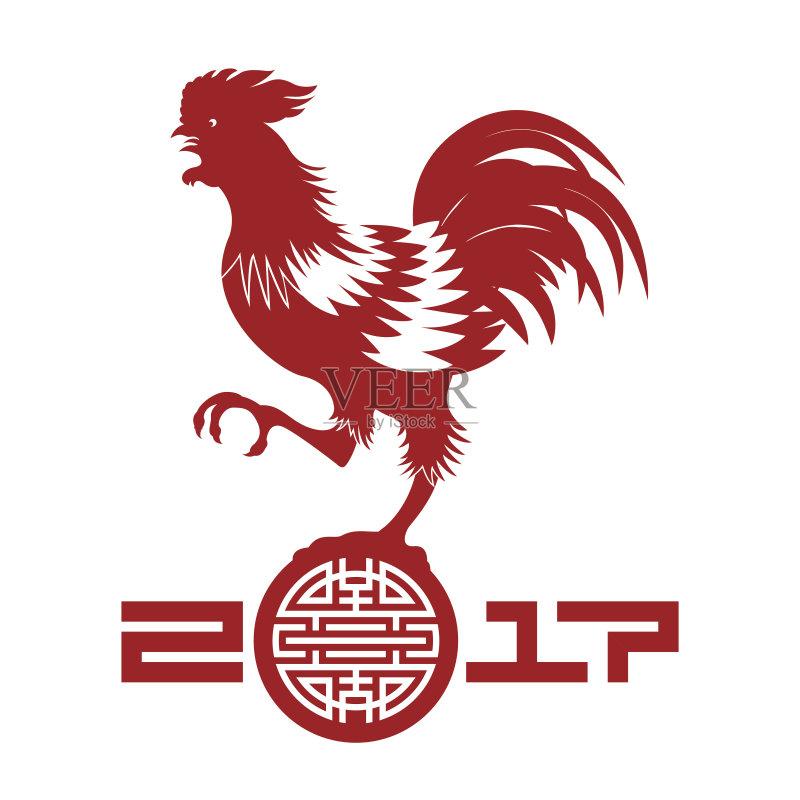 剪纸-时尚 文化 绘画插图 红色 符号 小公鸡 动物 东亚文化 设计元素 无图片