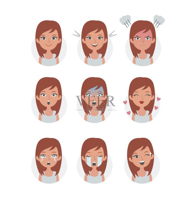 美 绘画插图 情绪压力 乐趣 表情符号 情感
