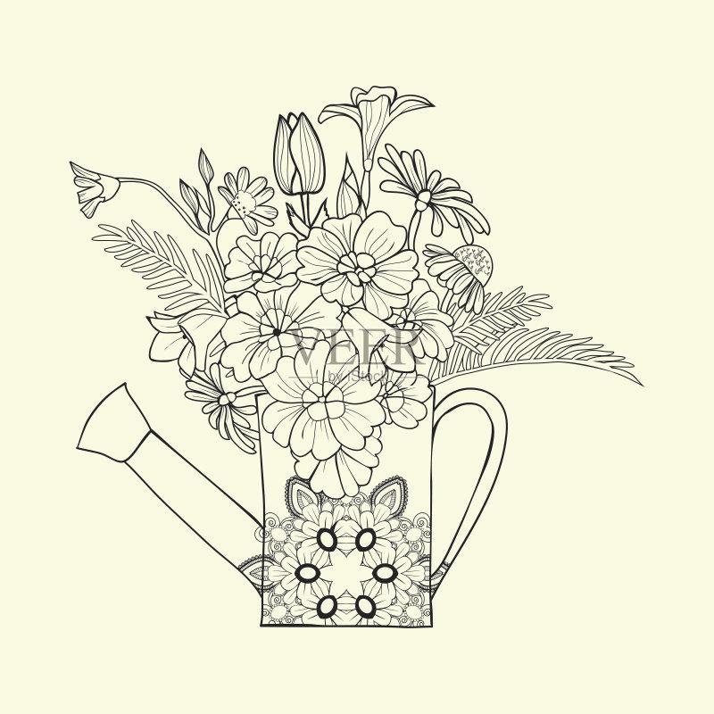 图像-着色 书页 绘画插图 轮廓 叶子 放松 式样 喷壶 自然 画画 装饰 华丽