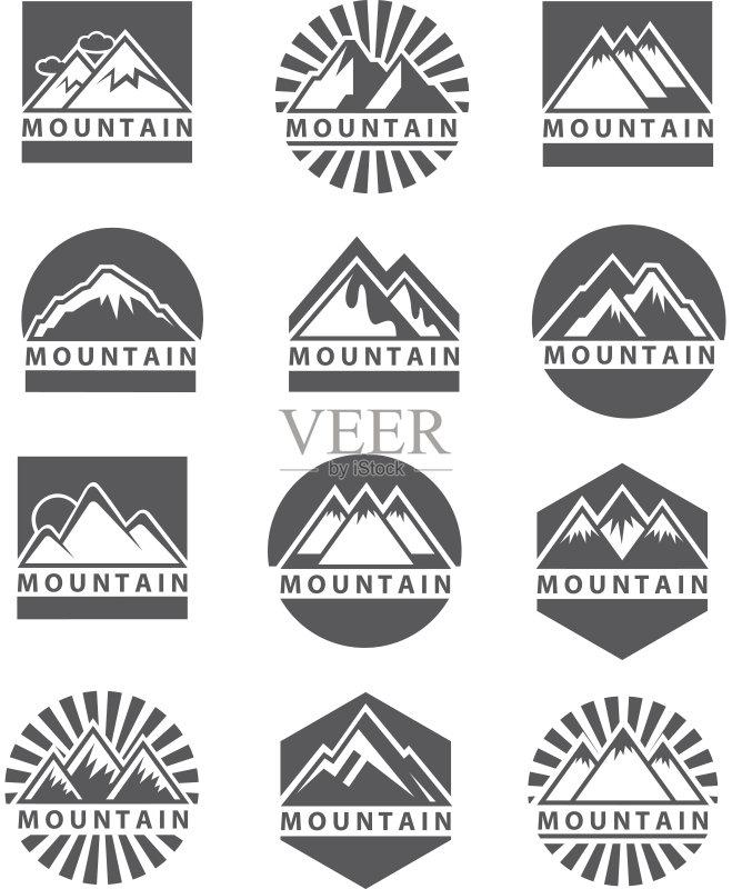 图形-设计 山 收集 符号 高大的 露营 探险 徒步旅行 山脉 冒险 太阳 攀登