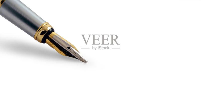 钢笔-文字 墨水笔 白色 轮廓 书法 床单 古老的 在边上 银 水笔 古典式 剪贴路