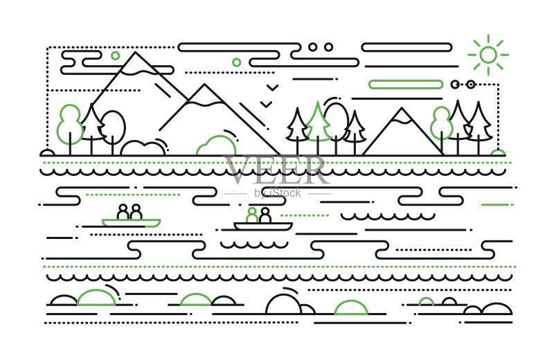 线路-人 网站模板 想法 信息图表 冒险 船 生活方式 皮划艇 旅行 地形 部