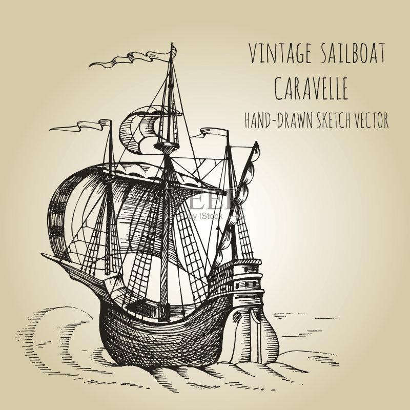 铅笔画 设计 哥伦布 风 帆船 运输 船 画画 地图 客船 旅行 弯曲 计算机制