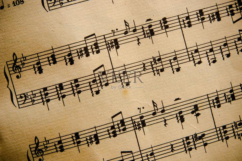娱乐 牛皮纸 低音谱号 音符 调号 音乐风格 乐谱 彩色背景 无人 古典式