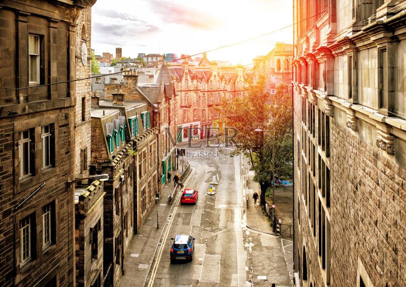 街景-光 曙暮光 市区 旅游目的地 黄昏 建筑外部 木卫二塔 英国 旅行 苏图片
