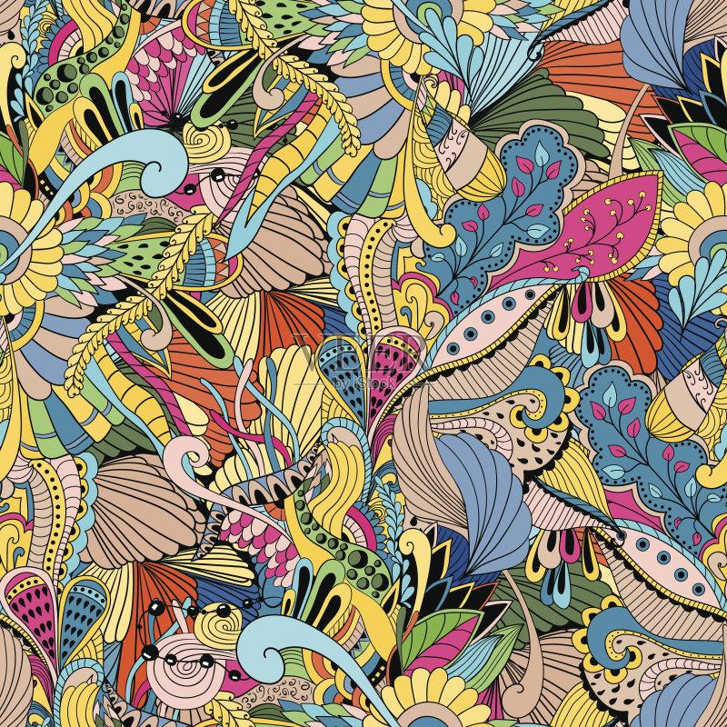 无缝的样式 美术工艺 纺织品 圣诞装饰 夏天 壁纸 艺术 古典式 花 乱画
