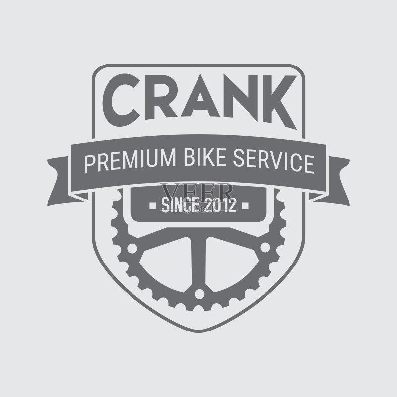 logo-自行车 齿轮 符号 设备用品 在边上 平坦的 复古风格 计算机图标 证章