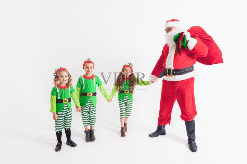 服饰-节日 女孩 许愿 白色 宗教圣徒 包 少女 小精灵 红色 圣诞老人 白人 图片