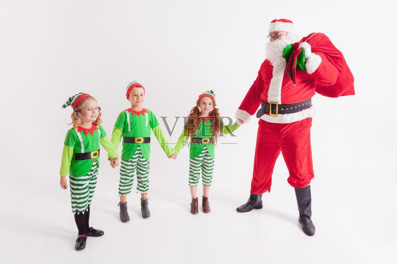 服饰-节日 女孩 许愿 白色 宗教圣徒 包 少女 红色 圣诞老人 白人 儿童 图片