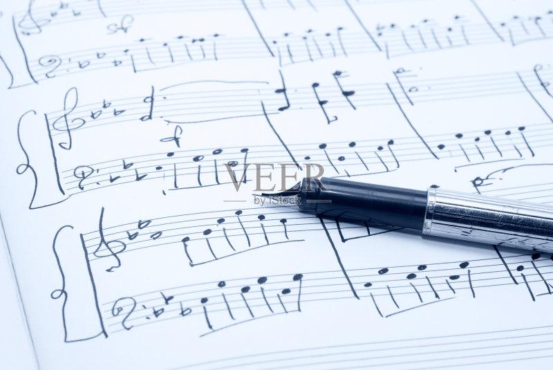 音乐人 写 学习 高音谱号 计算机制图 钢琴 背景 纸 古董 计算机图形学