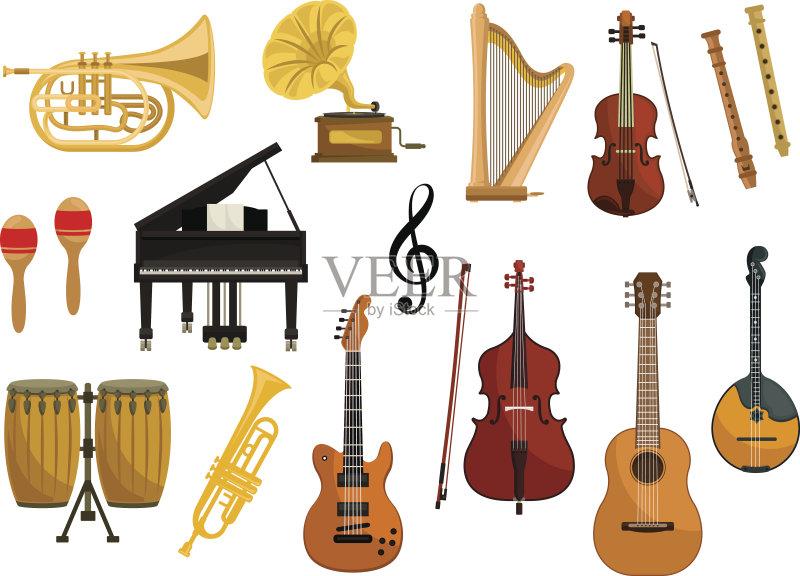 原音乐 音符 乐器 唱 小号 绘画插图 噪声 手鼓 大提琴 长笛 设备用品