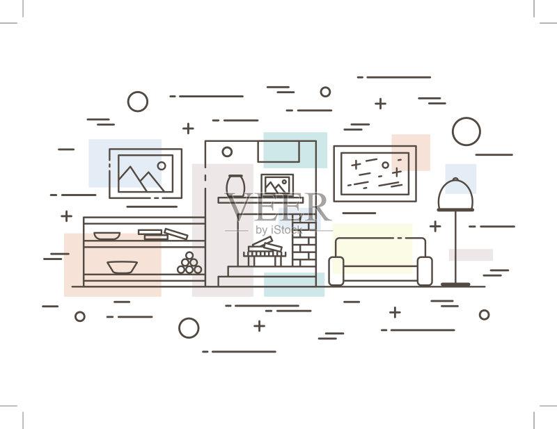 设计图-设计 一个物体 轮廓 住宅内部 窗户 符号 式样 家具 桌子 公寓 装