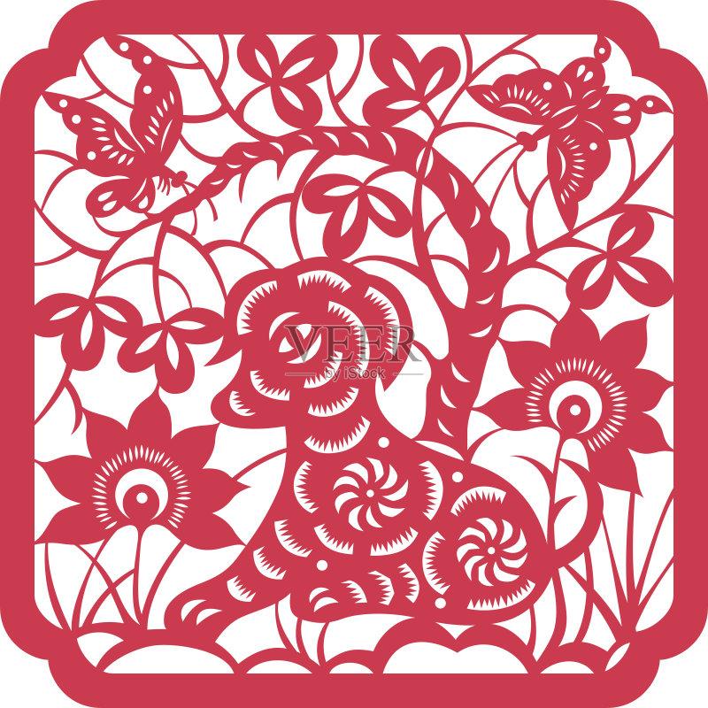 剪纸-洞 设计 文化 窗花 运气 卡通 红色 符号 式样 东亚文化 亚洲 中国 图片