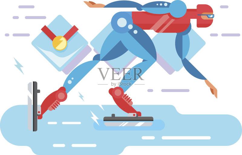 人 溜冰场 卡通 奥运 赛跑 运动员 迅速 冬季运动 生活方式 竞技运动 竞
