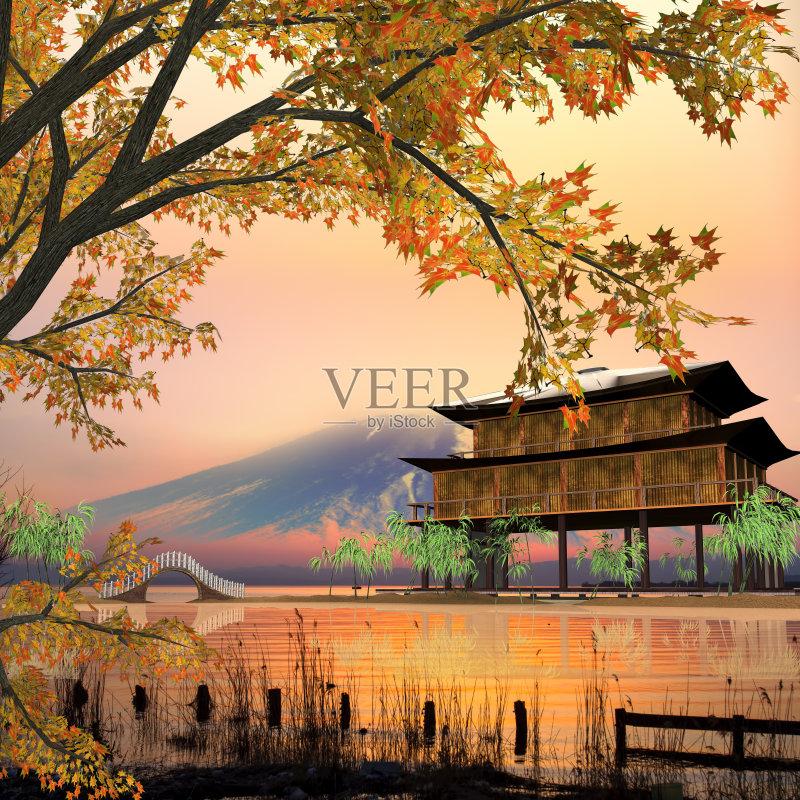 风景画-高雅 白色 船 亚洲 中国 山顶 云 墨水 渔夫 非都市风光 早晨 户外