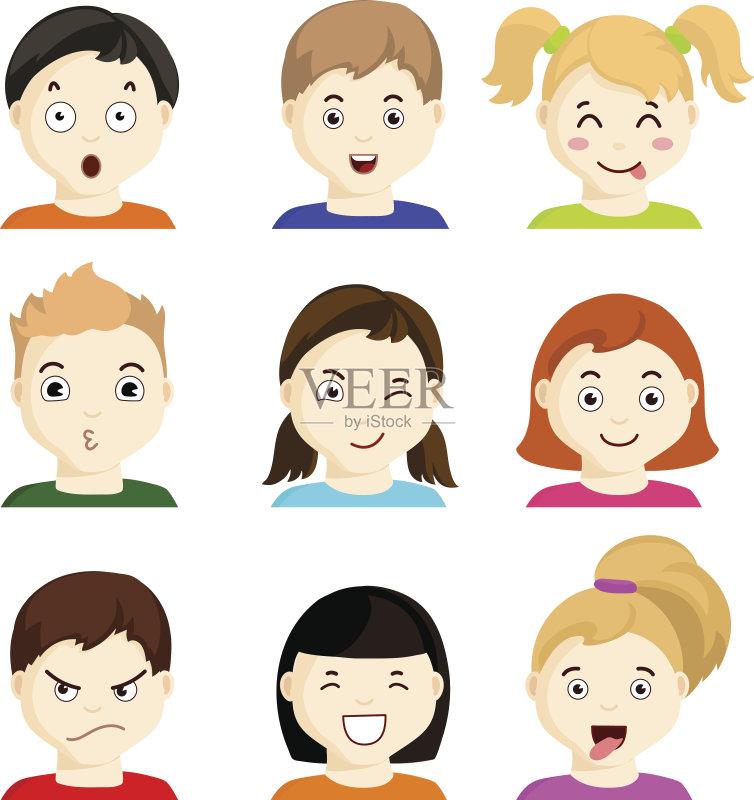 情绪-人 震惊 欢乐 恐怖 梦想 收集 担心 人的头部 悲哀 情感 儿童 不确定