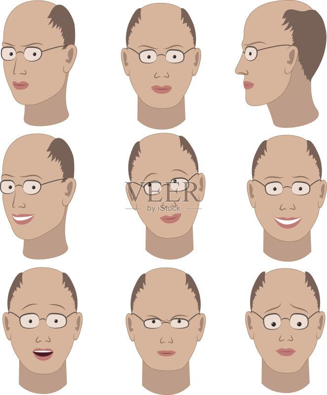 情绪-震惊 欢乐 多样 梦想 模式化形象 肖像 收集 看 人的头部 悲哀 男性