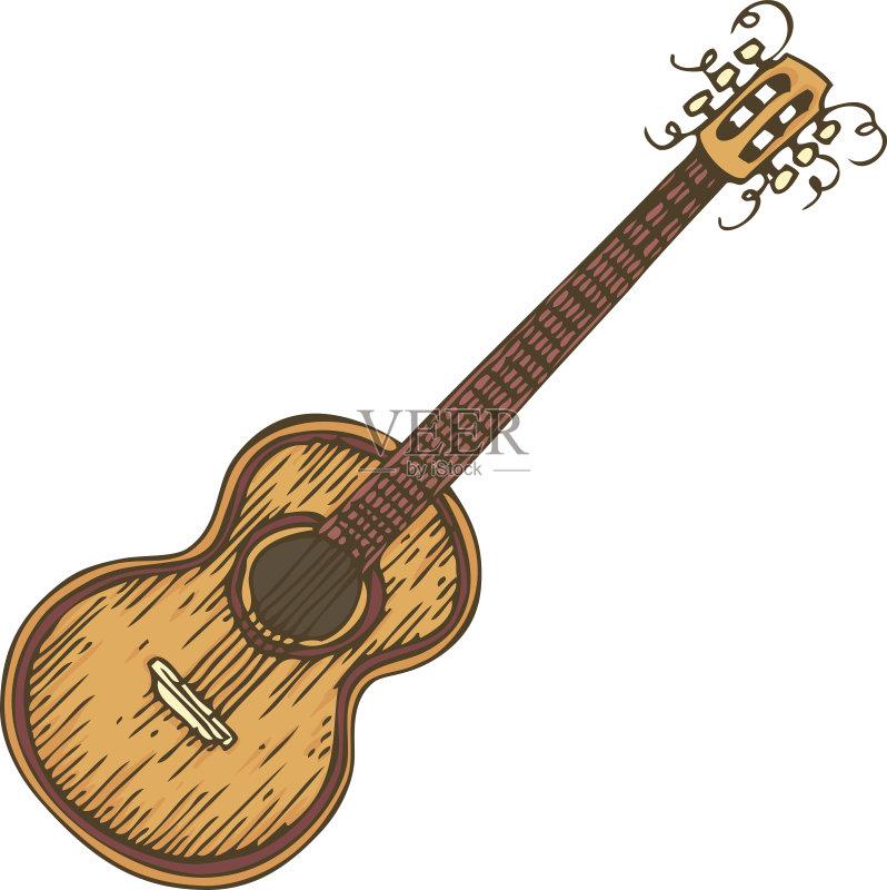 吉他 无人 乐器弦 木制 钢铁 声学吉他 弦乐器 绘画插图 艺术文化和娱乐