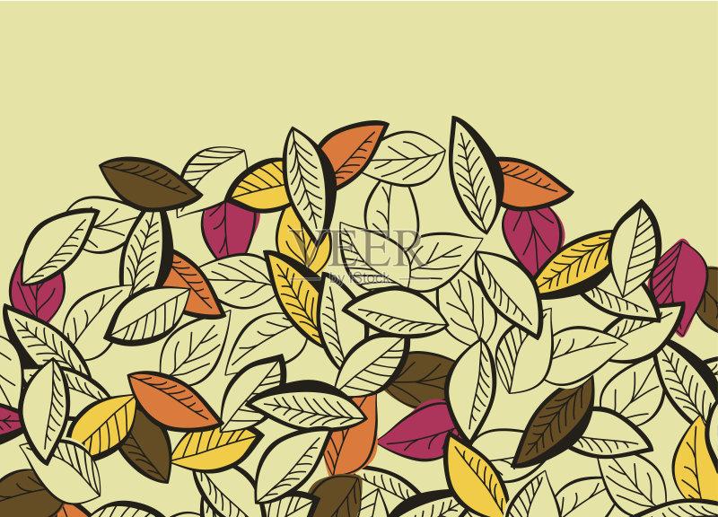 画插图 叶子 美术工艺 自然 艺术 无人 装饰 华丽的 季节 矢量 多色的