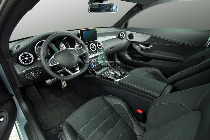和娱乐 控制 汽车 收音机 指导 时尚 华贵 方向盘 汽车内部 影棚拍摄 图片