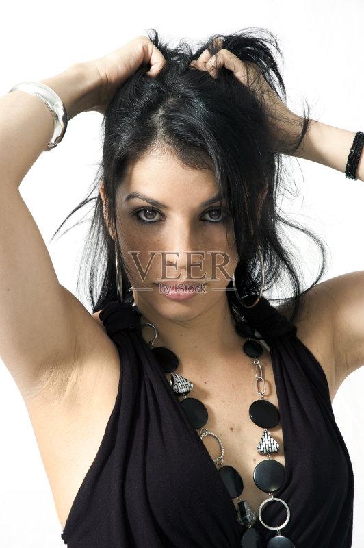造型-长发 女人 黑色 少女 时装模特 连衣裙 成年人 青少年图片