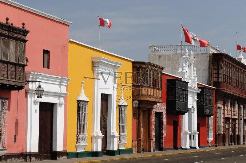 街景-西班牙文化 市区路 美洲 建筑结构 南美 特鲁希略 窗户 拉丁美洲文图片