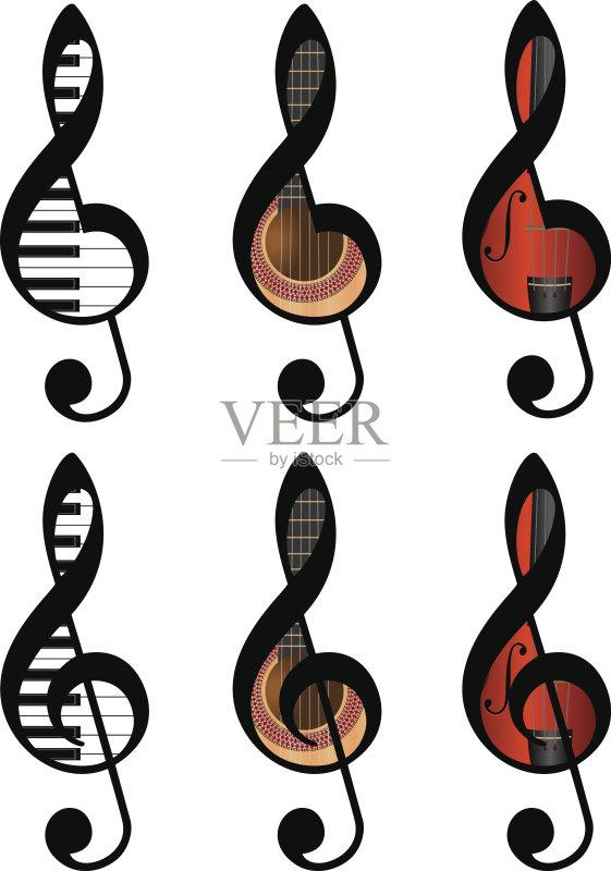 音乐 高音谱号 乐器 部分 钢琴键 计算机制图 时尚 绘画插图 噪声 乐谱