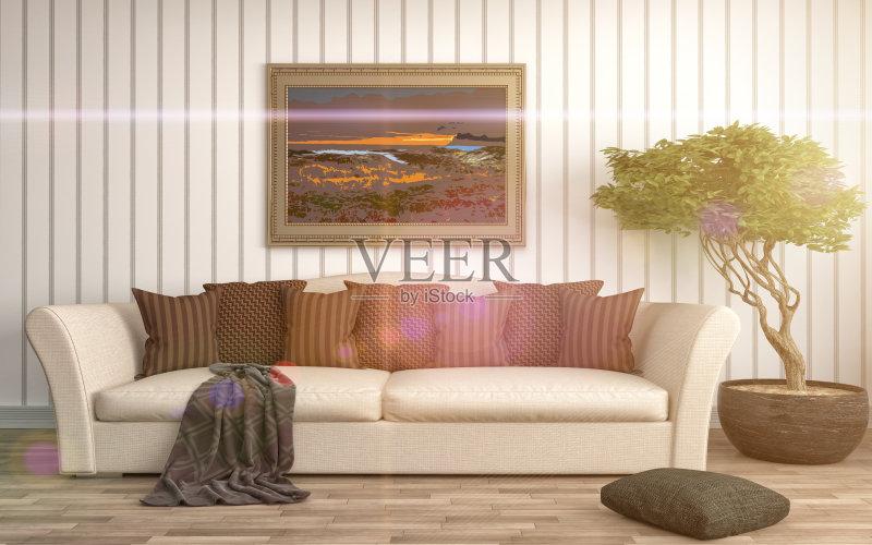 居室 扶手椅 家具 公寓 无人 装饰 室内 褐色 计算机制图 沙发 空的