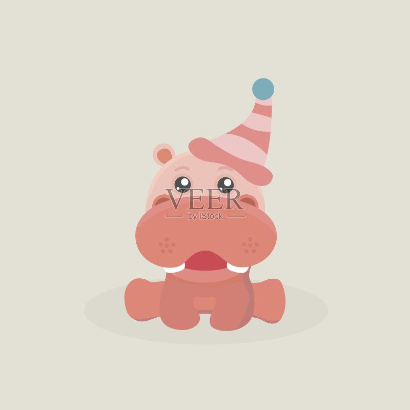 有趣-绘画插图 卡通 重的 幼小动物 超重 乐趣 动物 河马 婴儿 哺乳纲 矢图片