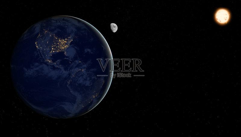 地球-北美 月球 陆地 南美 太平洋 自然 太空 北半球 无人 行星 宁静 科学