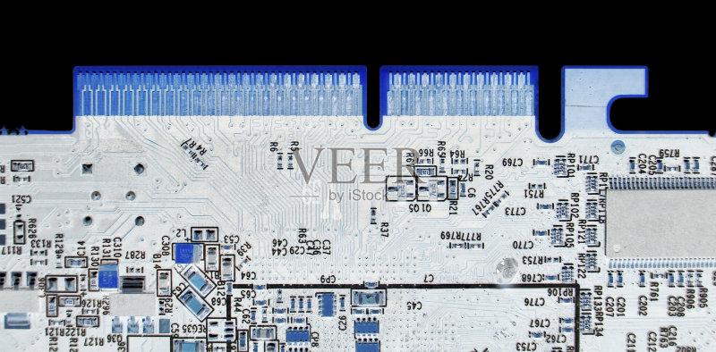电路板 计算机 式样 随机存取存储器 黑色背景 工程 电脑芯片 蓝色 无人 图片