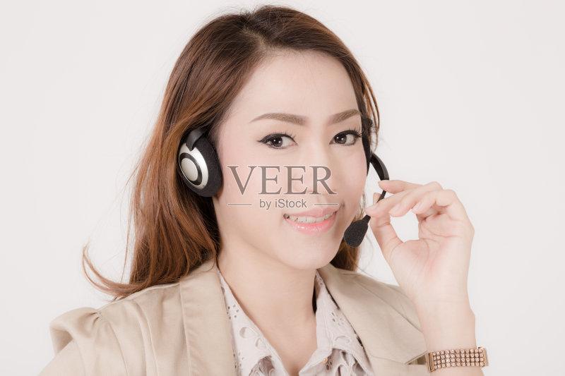 笑容-麦克风 人 女人 服务 泰国 间谍 商务 人体 顾客 人的脸部 成年人