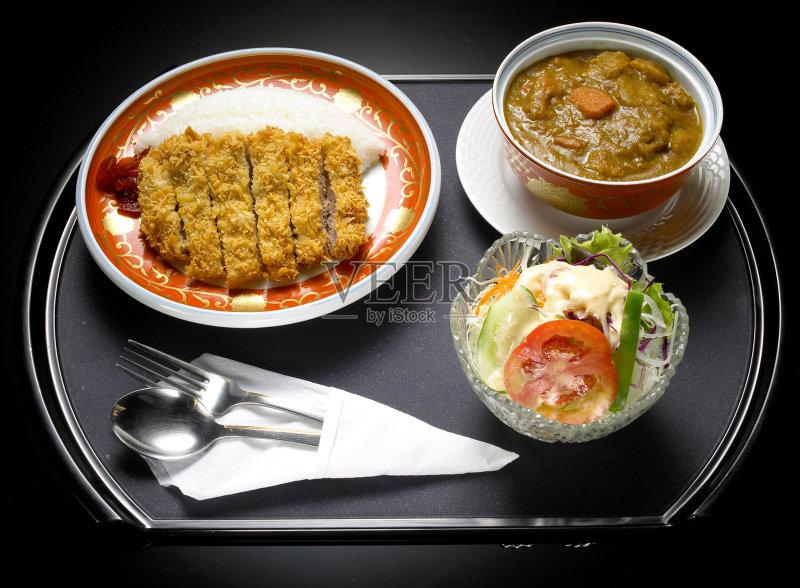 料理-日本 香料 文化 胡萝卜 红色 膳食 桌子 餐具 亚洲 肉 食品 背景 装