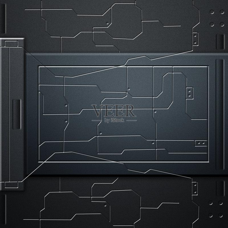 电路-未来 绘画插图 式样 铬合金 墙 居家装饰 太空 无人 三维图形 钢铁 图片
