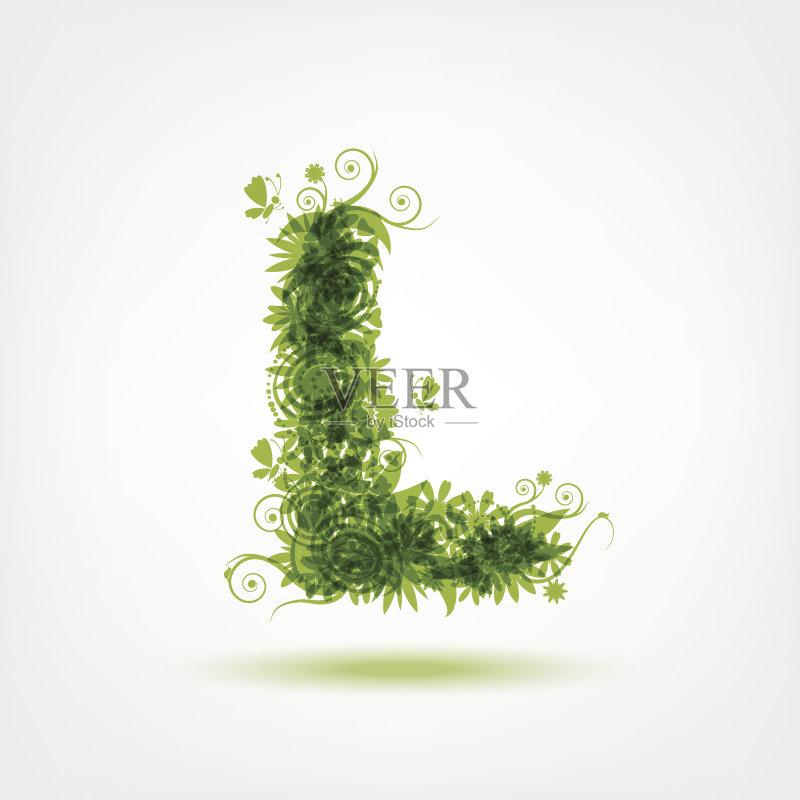 环保-环境 绘画插图 有机食品 叶子 花头 式样 形状 标志 夏天 自然 枝