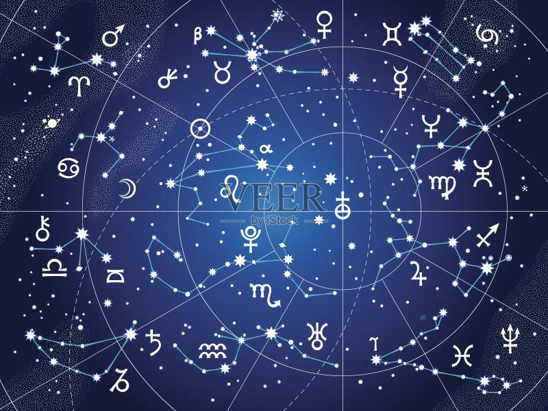 金星 几何学 星图 图表 土星 月球 木星 夜晚 月亮 星星 水星 星云 太空