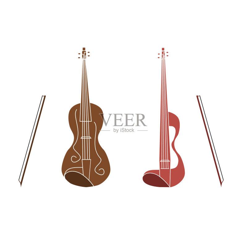 色背景 画画 乐器弦 管弦乐队 艺术 音乐 古典乐 艺术文化和娱乐 乐器