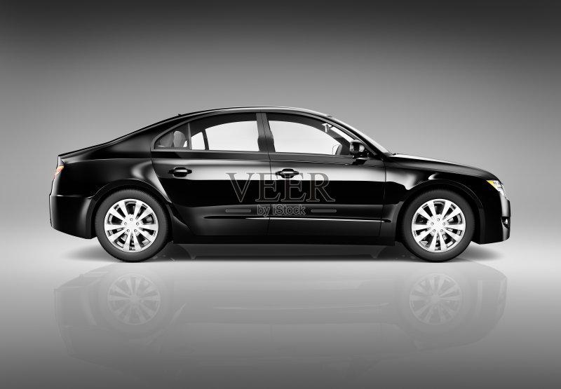 人 三维图形 汽车 反射 黑色 新的 陆用车 形状 闪亮的 现代 豪华轿车图片