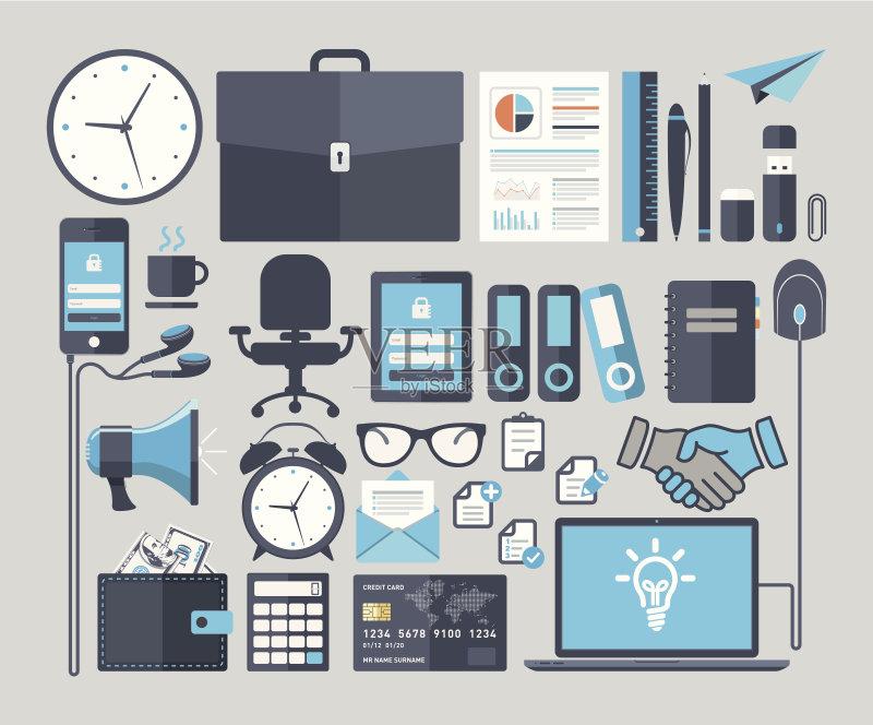 平面-想法 信息图表 文档 符号 咖啡 笔记本电脑 椅子 传媒 技术 笔记本 图片