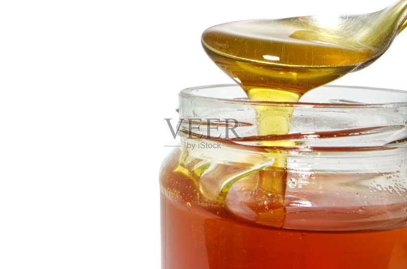 食品 背景 蜂蜜 甜点心 汤匙 竹筒勺 早餐 有机食品 广口瓶 商品 美味 图片