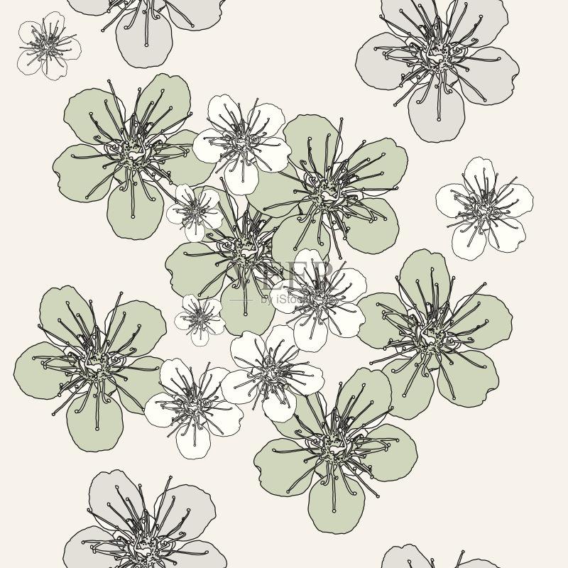 图案-可爱的 植物学 绘画插图 叶子 植物 式样 夏天 自然 无人 背景幕 装