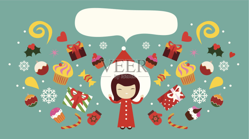 装饰 印刷 剪贴画 个性 幻想 圣诞节 性格 甜点心 新年前夕 青少年 传