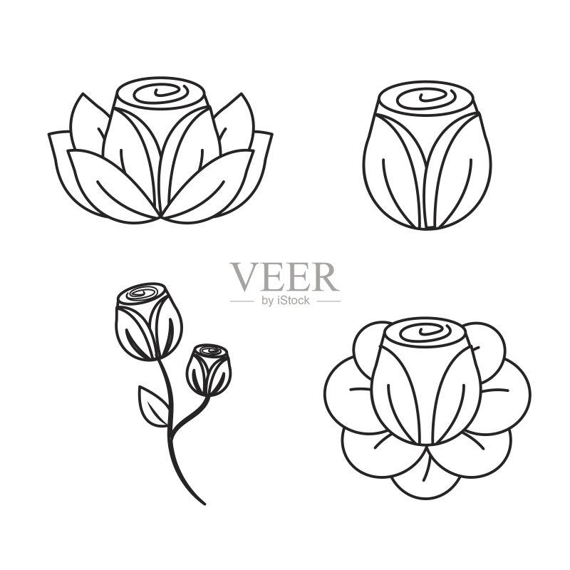 图像-绘画插图 花头 哥伦比亚 春天 夏天 自然 画画 艺术 玫瑰色的 花 黑