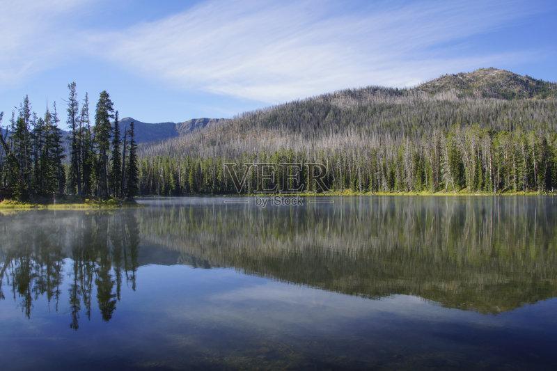 自然 国内著名景点 白昼 蒸汽 宏伟 湖 雾 美国西部 户外 自然美 森林 图片