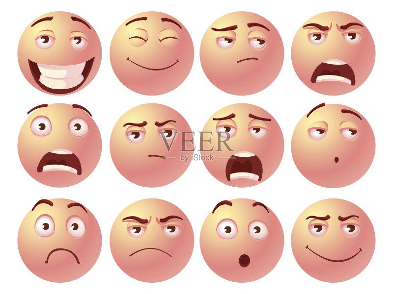 图标 沮丧 情绪压力 乐趣 表情符号 快乐 笑 人体 矢量 人的脸部 成年