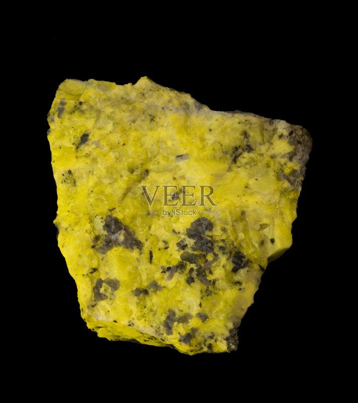 黑色背景 金属矿石 自然 黄色 无人 荧光灯 硅 博物馆 科学 黑色 岩石