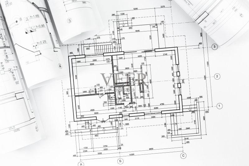 图纸-蓝图 想法 文档 建筑业 角度 比例 职业 卷起 重建 工业 技术 部分
