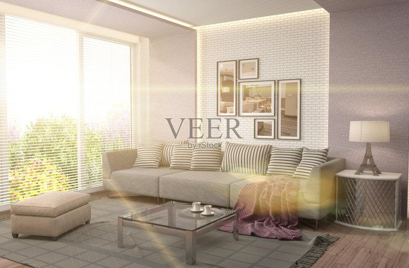 居室 扶手椅 家具 公寓 无人 装饰 室内 褐色 计算机制图 普罗旺斯 沙发